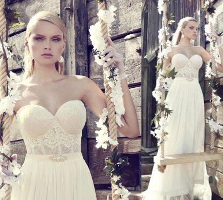 Свадебное платье с прозрачным корсетом от Рики далал