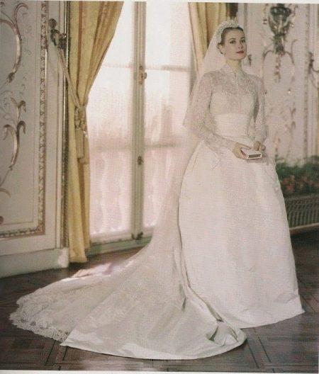Свадебное платье со шлейфом Грейс Келли