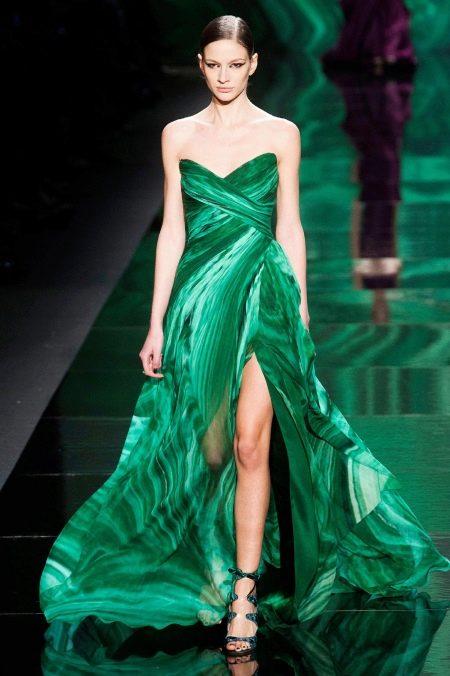 Зеленое платье с разрезом вечернее