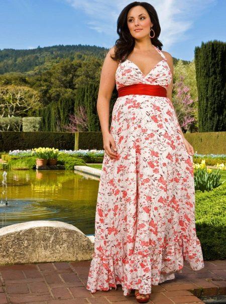вечернее платье  с широким поясом на свадьбу
