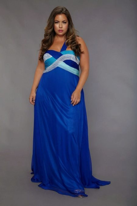 Летний синий сарафан на свадьбу для полных