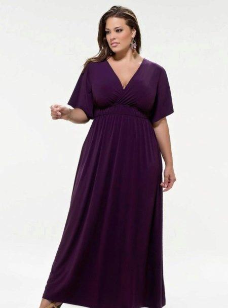 Фиолетовое платье вечернее трикотажное в стиле ампир с рукавами