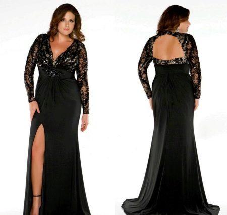 Вечернее платье с открытой спиной для полных девушек