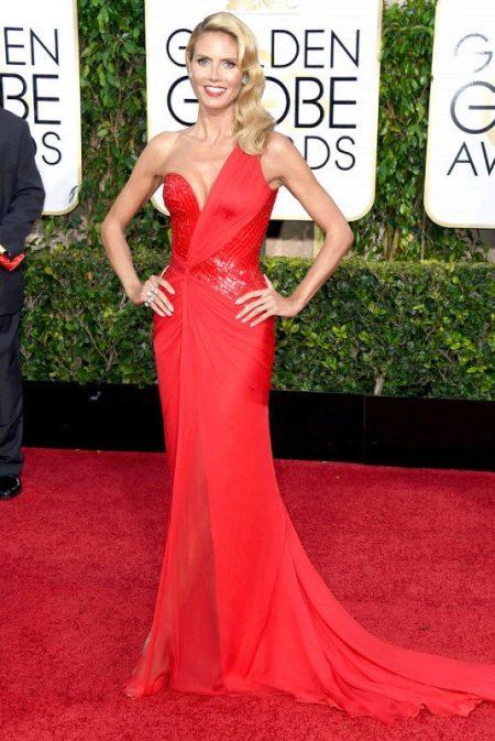 Вечернее красное платье Хайди Клум