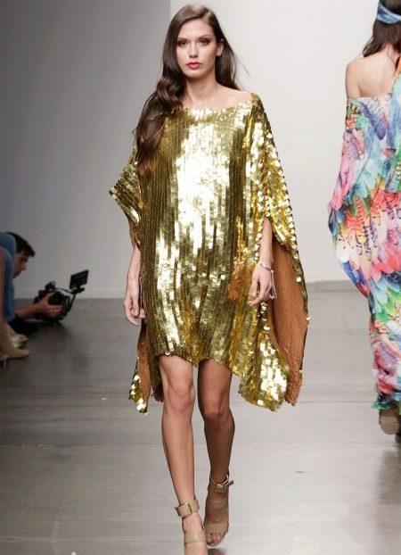 Летнее короткое вечернее платье золотое