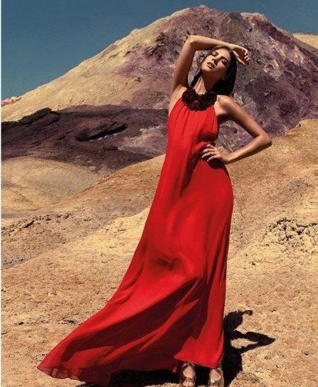 Вечернее летнее платье в пол красное