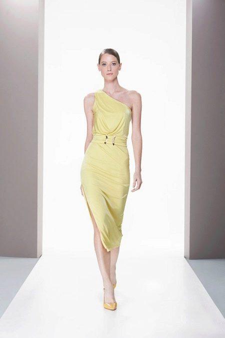 Асимметричное летнее платье миди