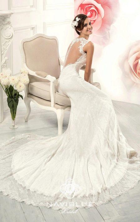 Свадебное платье русалка с открытой спиной от Навиблю