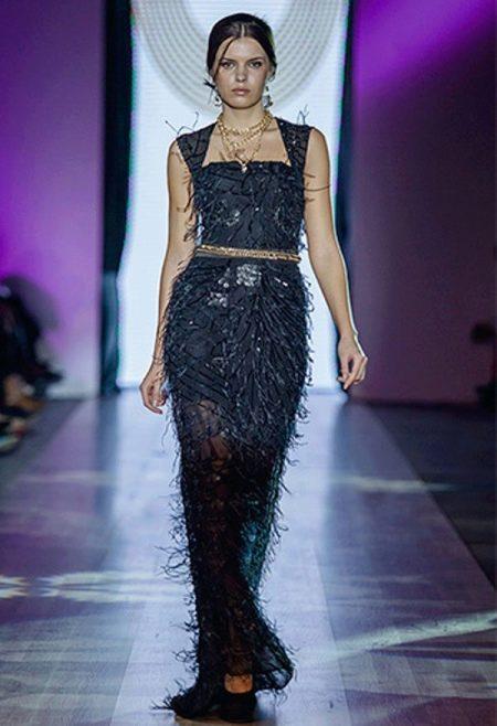 Вечернее платье прямое  из коллекции Privee 2014 черное