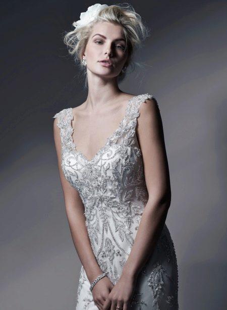 Свадебное платье с бисером и стеклярусом