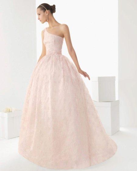 Розовое свадебное платье кружевное