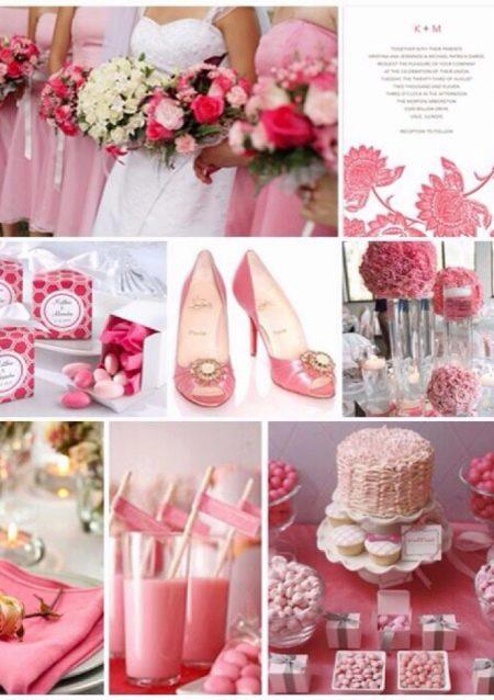 Розовые аксессуары к свадебному платью