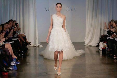 Свадебное платье короткое на одно плечо
