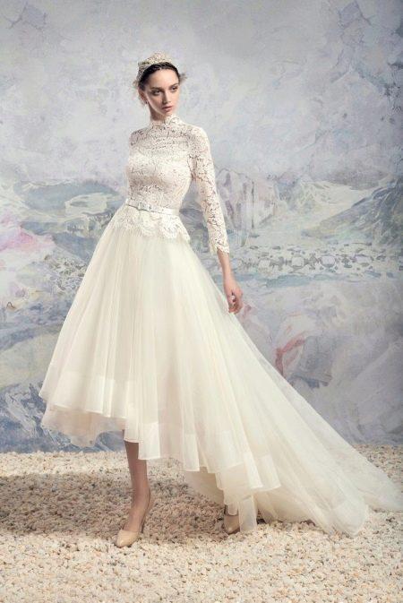 Свадебное платье хай-лоу закрытое от Papilio