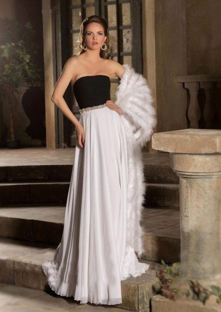 Свадебное платье с черным корсетом из коллекции Римские каникулы от Габбиано