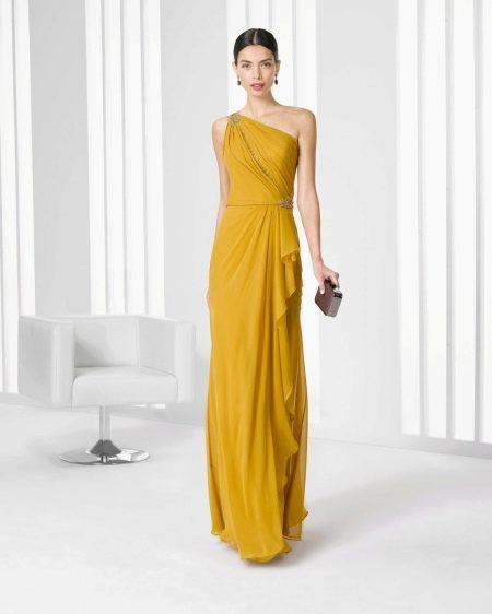 Вечернее платье горчичного цвета 2016