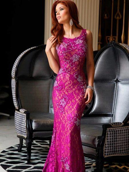 Кружевное вечернее платье для выпускного