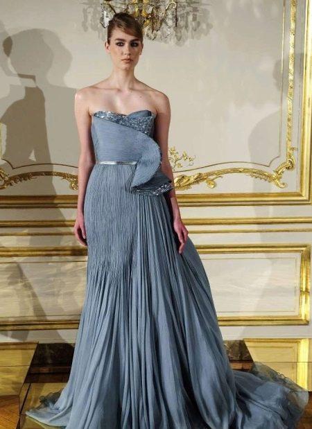 Синее платье-плиссе на выпускной