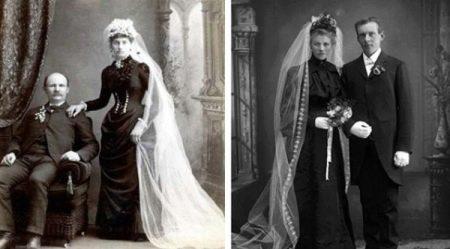 Старинные черные свадебные платья