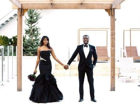 Свадебное платье черного цвета рыбка
