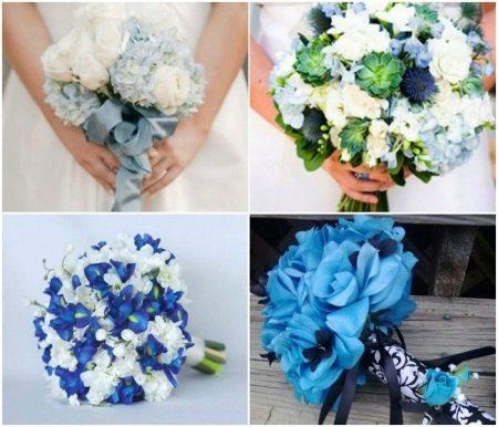 Букеты  к голубому свадебному платью