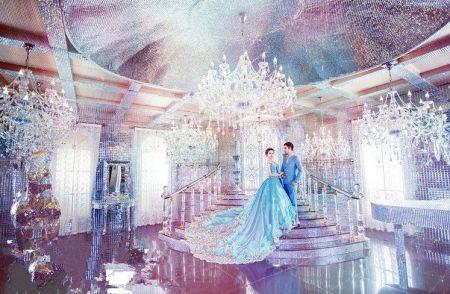Свадебное платье голубое темных тонов