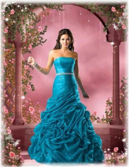 Свадебное платье цвета морской волны