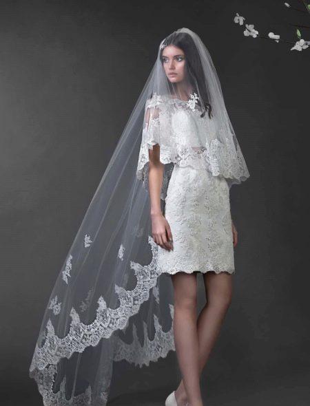 Короткое свадебное платье от Романовой