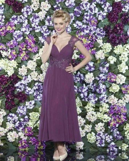 Вечернее платье с широким кружевным поясом для 50 размера