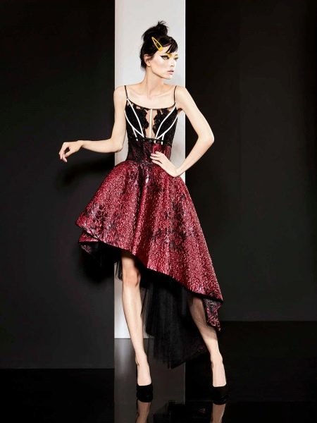 Короткое вечернее платье бордовое