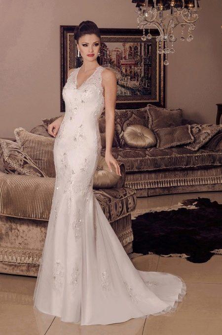 Свадебное платье русалка на бретелях кружевное
