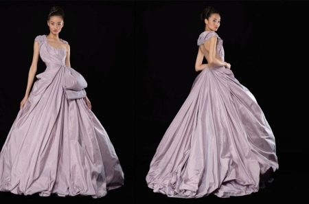 Фиолетовое пышное шелковое вечернее платье