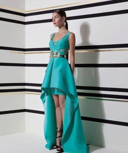 Бирюзовое вечернее платье короткое спереди длинное сзади