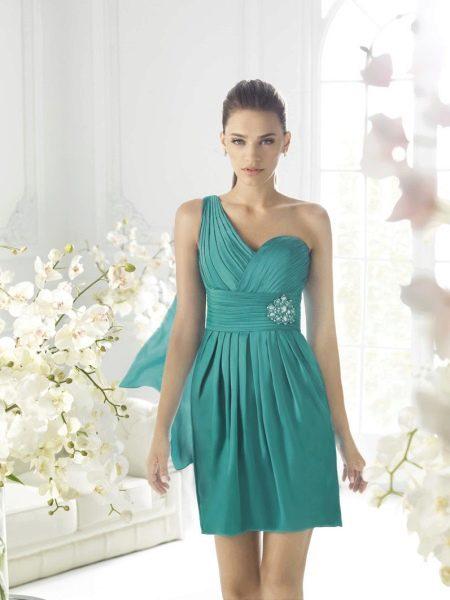 Вечернее платье короткое бирюзовое