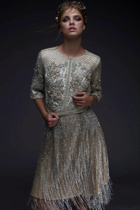 Вечернее платье короткое с бахромой для Новогоо года