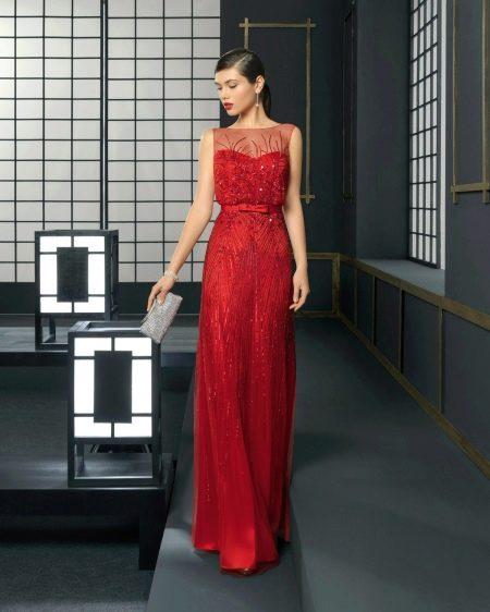 Красное вечернее платье в пол для корпоратива