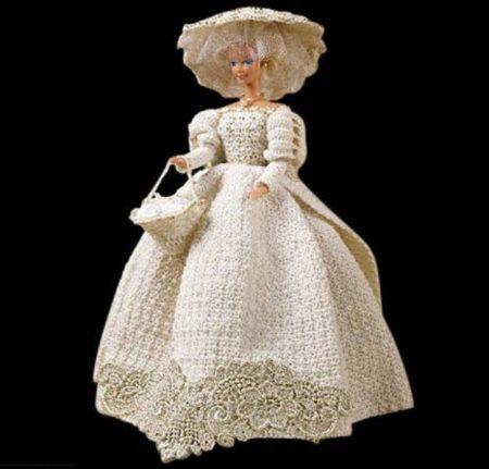 Вязанное свадебное платье Куклы барби