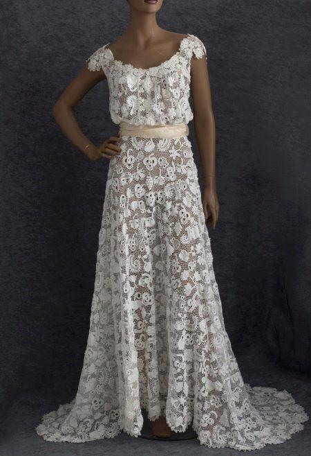 Вязанное свадебное платье из ирландского кружева
