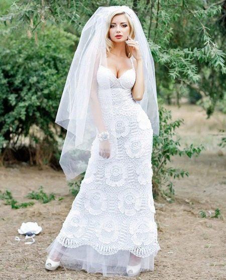 Вязанное свадебное платье крючком