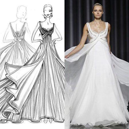 Эскиз вечернего греческого платья