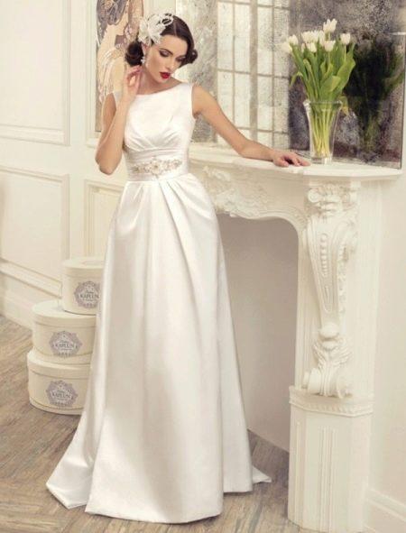 Свадебное платье с атласным поясом