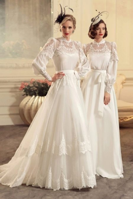 Свадебное платье в ретро стиле с поясом