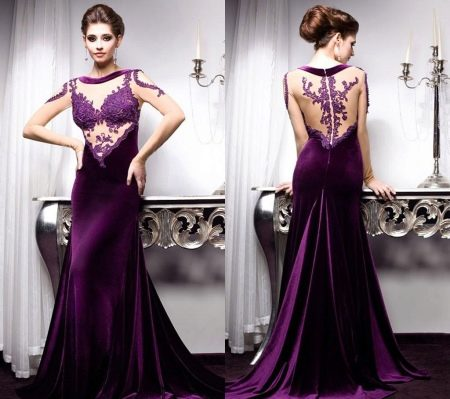 Длинное баклажановое бархатное платье