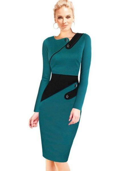 Теплое бирюзовое платье