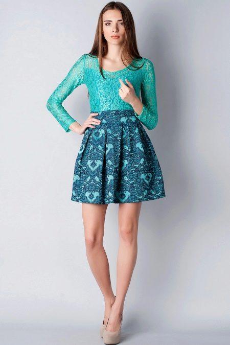 Бирюзово-синее платье