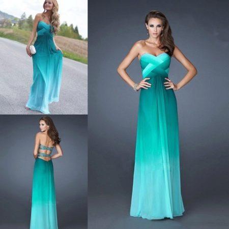Бирюзово-зеленое платье