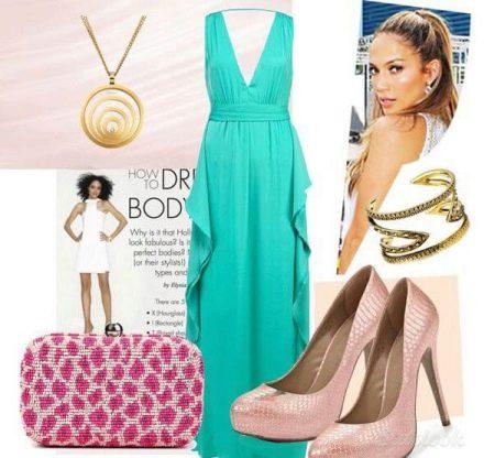 Бирюзовое платье со светло-розовыми аксессуарами