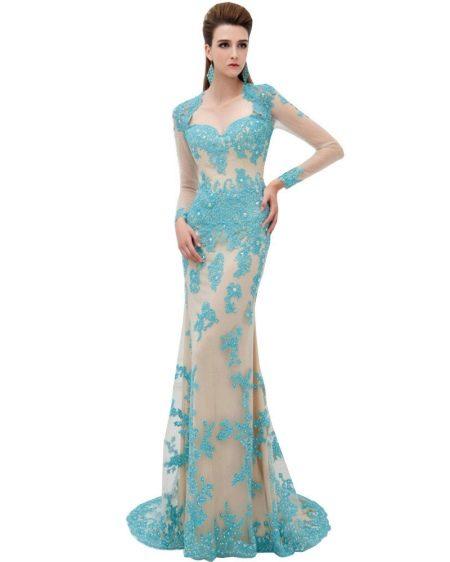Бирюзовое платье с эффектом обнаженного платья