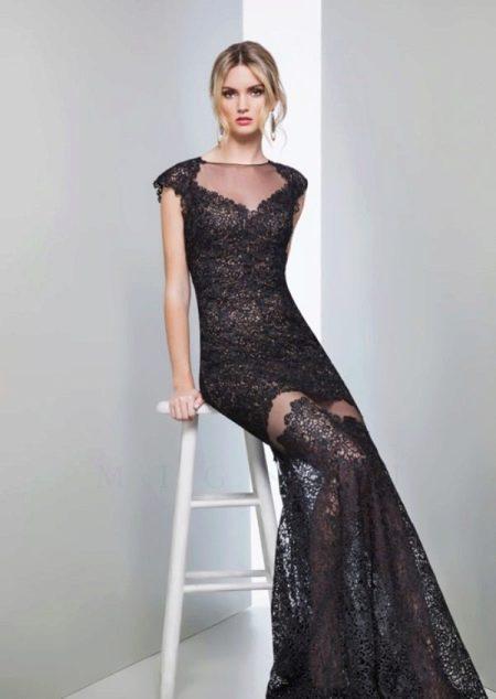 Черное кружевное платье вечернее от Мигнон