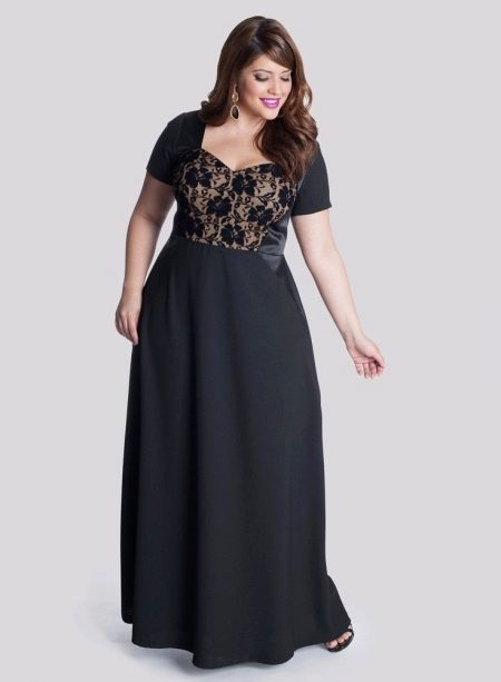 Вечернее платье для полных с кружевным верхом